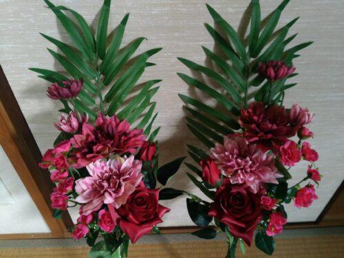 お墓に飾る造花のアレンジメント1